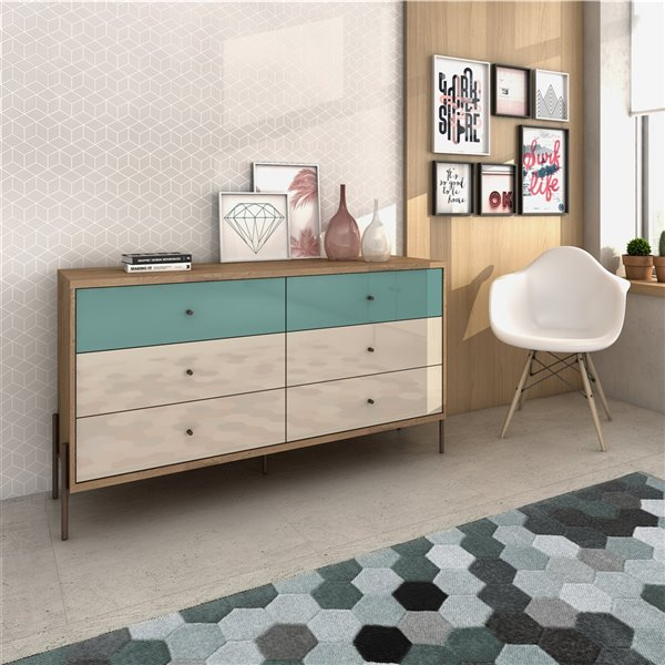 Manhattan Comfort Joy Double Dresser with 6 Drawers - 59.06-in x 32.48-in - Blue/Off White/Oak