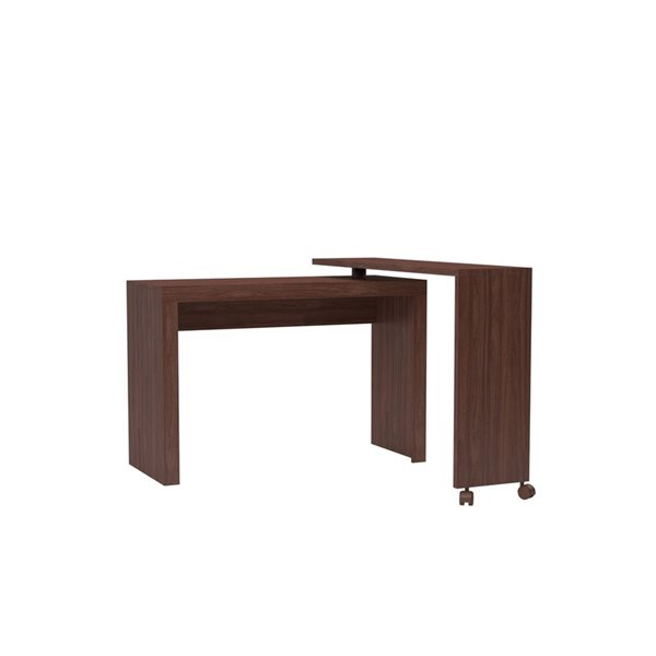 Manhattan Comfort Calabria Nested Desk with Swivel Feature - 47.24-in x 32.09-in - Nut Brown
