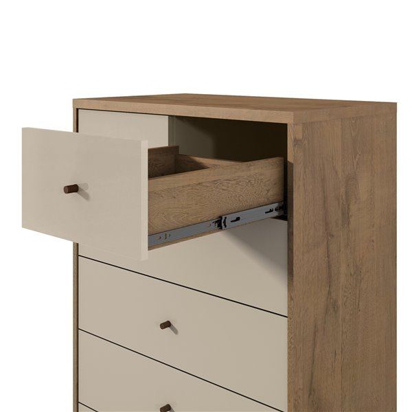 Manhattan Comfort Joy Tall Dresser with 6 Drawers - 30.71-in x 48.43-in – Off White/Oak