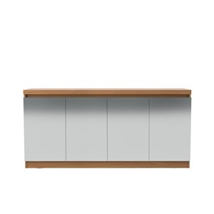 Manhattan Comfort Viennese 6-Shelf Buffet Cabinet with Mirrors - 62.99-in x 28.14-in - Maple Cream
