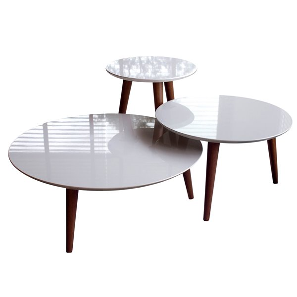 Manhattan Comfort Moore 3-Piece Round End Table Set - Gloss - Off White