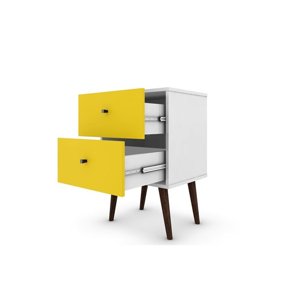 Manhattan Comfort Liberty Nightstand 2.0 with 2 Drawers - 17.72-in x 27.09-in - White/Yellow