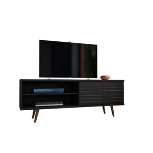 Manhattan Comfort Liberty TV Stand with 3 Shelves and 2 Doors - 62.99-in x 25.59-in - Black/Wood