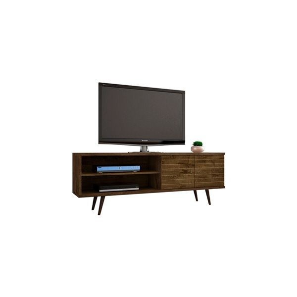 Manhattan Comfort Liberty TV Stand with 3 Shelves and 2 Doors - 62.99-in x 25.59-in - Rustic Brown/Wood