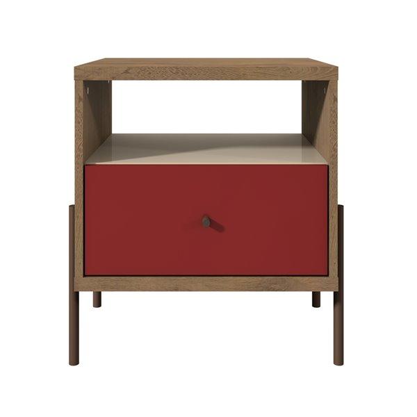 Manhattan Comfort Joy 1-Drawer Nightstand - 20.28-in x 22.44-in - Red/Off White/Oak