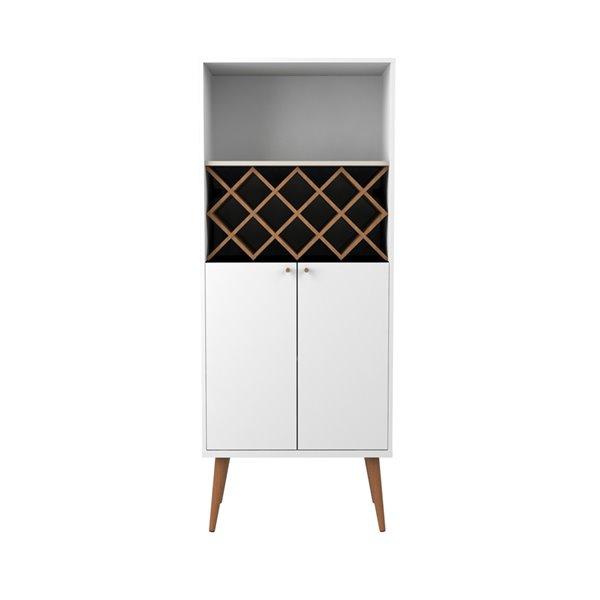 Manhattan Comfort Utopia 10-Bottle Wine Rack China Cabinet - 26.37-in x 65.74-in - Gloss White/Maple Cream