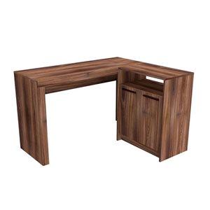 Manhattan Comfort Kalmar L-Shaped Office Desk with Cabinet - 48.43-in x 29.92-in - Dark Brown