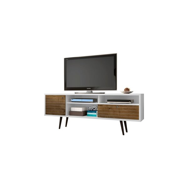 Manhattan Comfort Liberty TV Stand with Shelves and Drawer - 70.86-in x 26.57-in - Rustic Brown with White