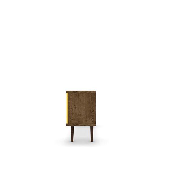 Manhattan Comfort Liberty TV Stand with 5 Shelves and 1 Door - 53.14-in x 26.57-in - Rustic Brown/Yellow