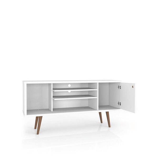 Manhattan Comfort Liberty TV Stand with 5 Shelves and 1 Door - 53.14-in x 26.57-in - White/3D Brown Prints
