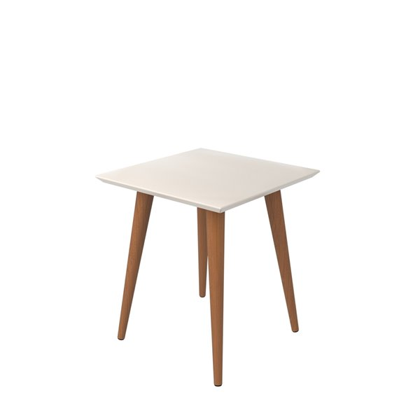 Manhattan Comfort Utopia High Square End Table with Splayed Wooden Legs - 17.32-in x 19.68-in - Off White