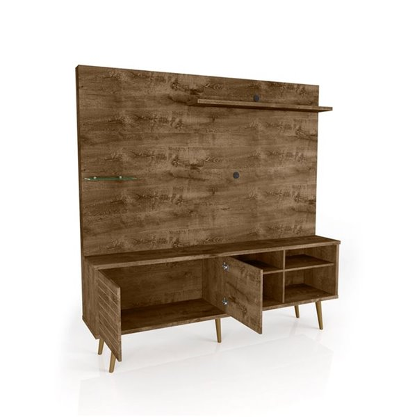 Manhattan Comfort Liberty Entertainment Centre with Overhead Shelf - 70.87-in x 72.05-in - Rustic Brown