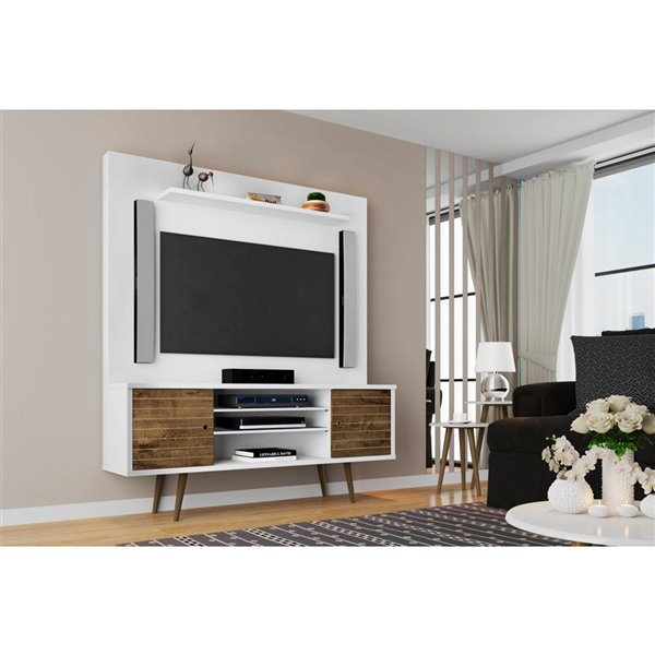 Manhattan Comfort Liberty Entertainment Centre with Overhead Shelf - 63-in x 71.92-in - White/Rustic Brown
