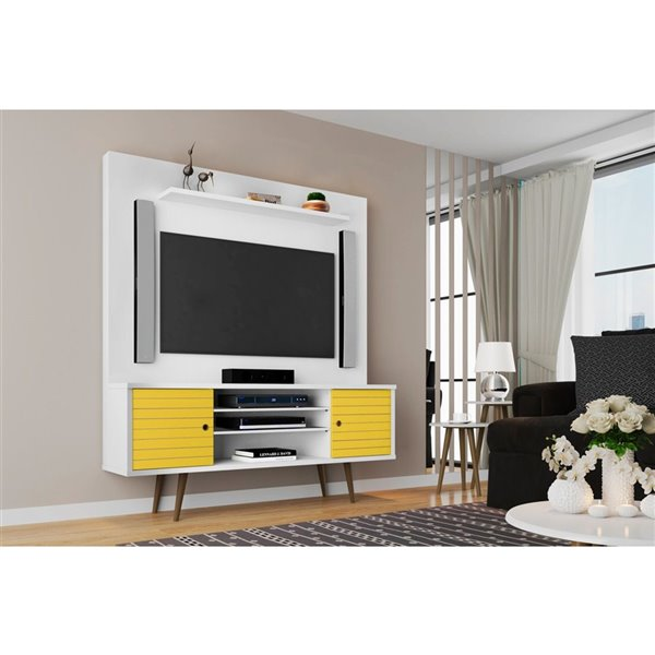 Manhattan Comfort Liberty Entertainment Centre with Overhead Shelf - 63-in x 71.92-in - White/Yellow