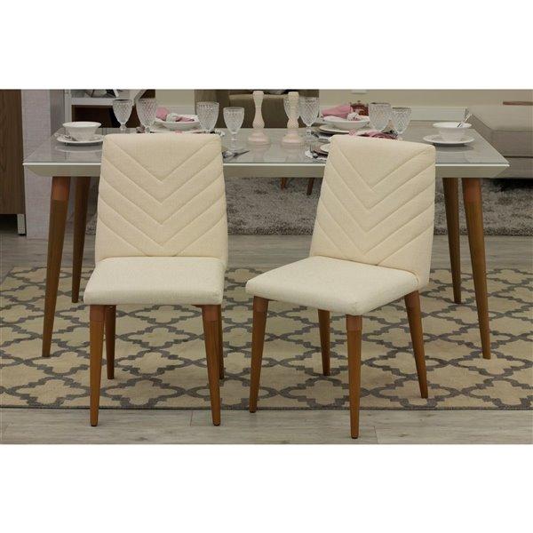 Manhattan Comfort Utopia Chevron Dining Chairs - Wood/Fabric - 17.32-in x 36.64-in - Beige - Set of 2