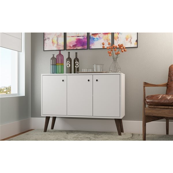 Manhattan Comfort Bromma Buffet Stand with 3 Doors - 35.43-in x 27.36-in - White