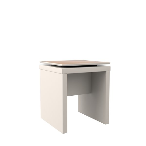 Manhattan Comfort Lincoln Square End Table - 40.15-in x 11.81-in - Off White/Maple Cream