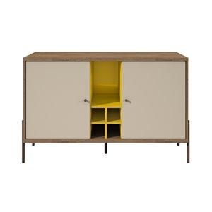 Manhattan Comfort Joy 4-Bottle Wine Buffet Stand - 47.44-in x 29.92-in - Yellow/Off White/Oak