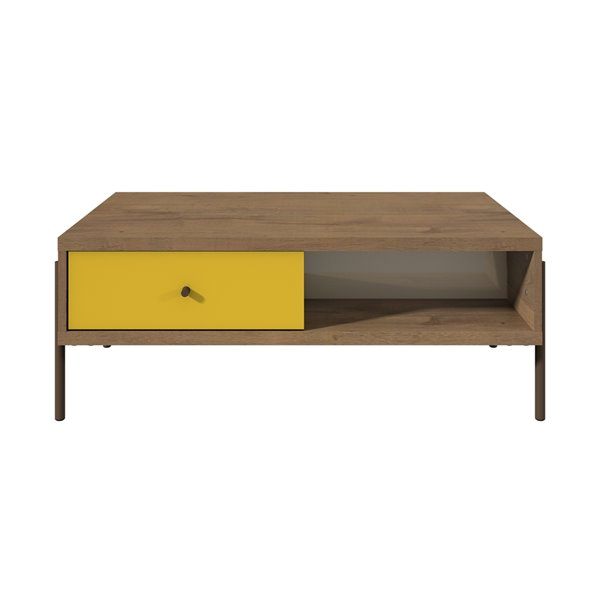 Manhattan Comfort Joy Double-Sided 2-Drawer End Table - 37-in x 14.17-in - Yellow/Off White/Oak