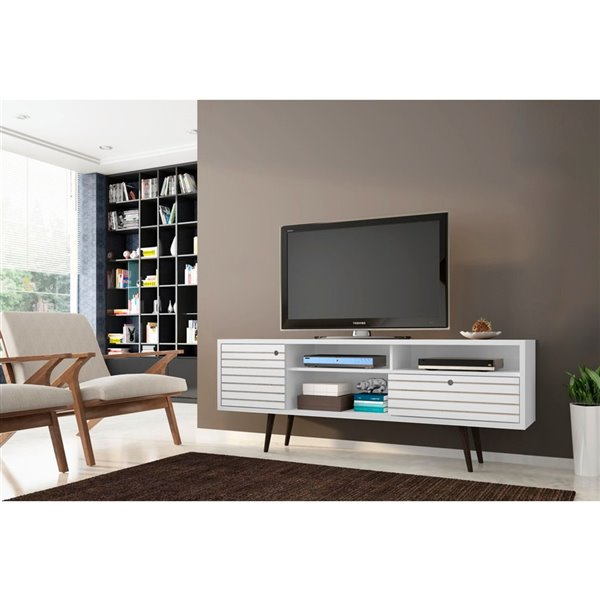 Manhattan Comfort Liberty TV Stand with Shelves and Drawer - 70.86-in x 26.57-in – White/Wood