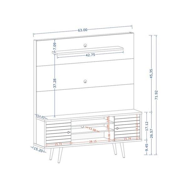 Manhattan Comfort Liberty Entertainment Centre with Overhead Shelf - 63-in x 71.92-in - Rustic Brown/Aqua Blue