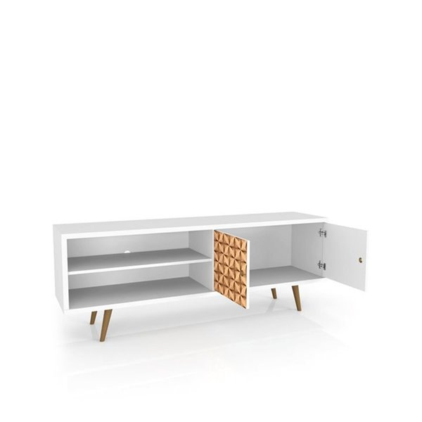 Manhattan Comfort Liberty TV Stand with 3 Shelves and 2 Doors - 62.99-in x 25.59-in - White/3D Brown Prints