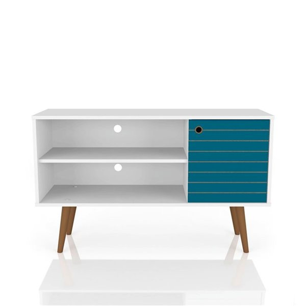 Manhattan Comfort Liberty TV Stand with 2 Shelves and 1 Door - 42.52-in x 25.8-in - White/Aqua Blue