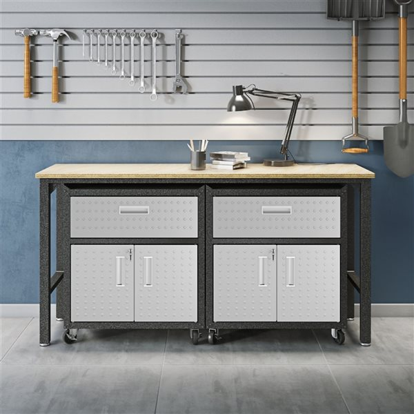 Manhattan Comfort Fortress 3-Piece Mobile Garage Cabinet and Worktable 4.0 - 72.4-in x 37.6-in - Grey