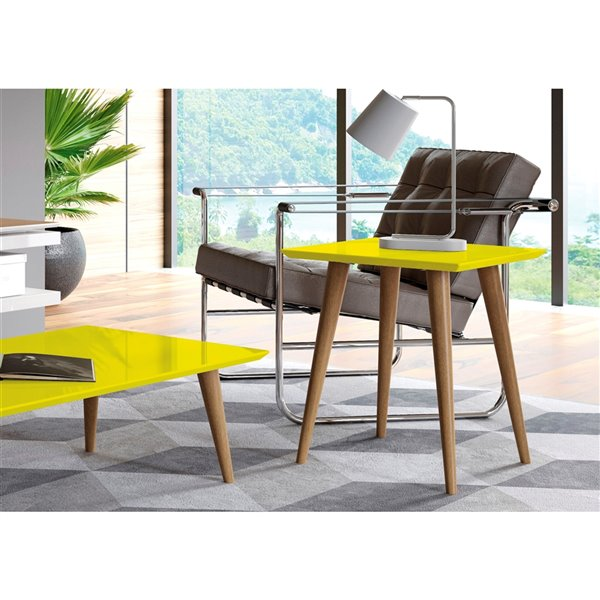 Manhattan Comfort Utopia High Square End Table with Splayed Wooden Legs - 17.32-in x 19.68-in - Yellow