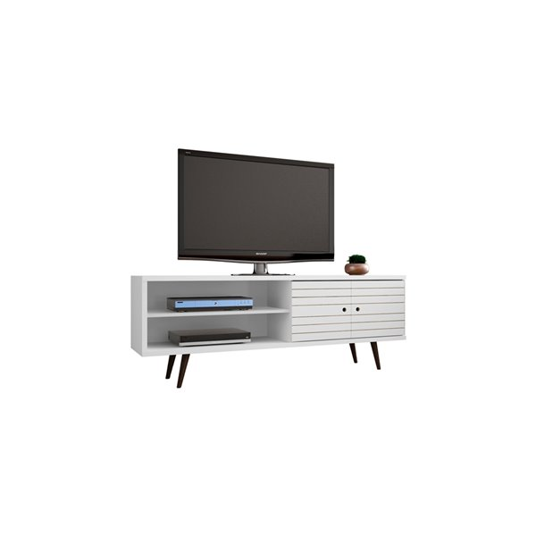 Manhattan Comfort Liberty TV Stand with 3 Shelves and 2 Doors - 62.99-in x 25.59-in - White/Wood