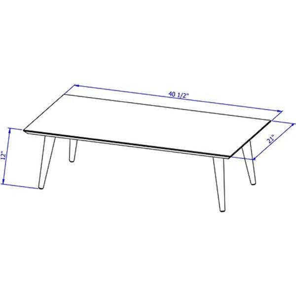 Manhattan Comfort Utopia Low Rectangular End Table - 40.15-in x 11.81-in - Yellow/Wood