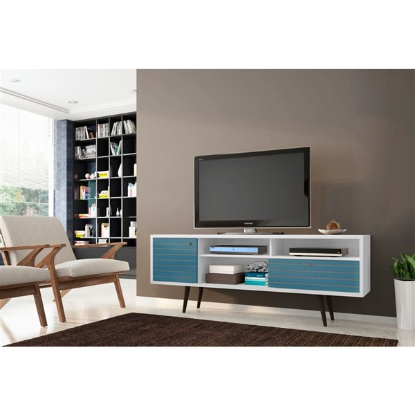 Manhattan Comfort Liberty TV Stand with Shelves and Drawer - 70.86-in x 26.57-in - White/Aqua Blue
