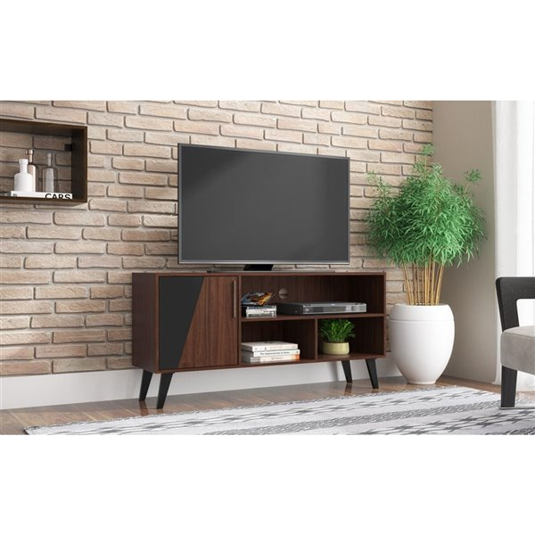 Manhattan Comfort Hogan TV Stand with 4 Shelves - 53.14-in x 25.59-in - Dark Brown