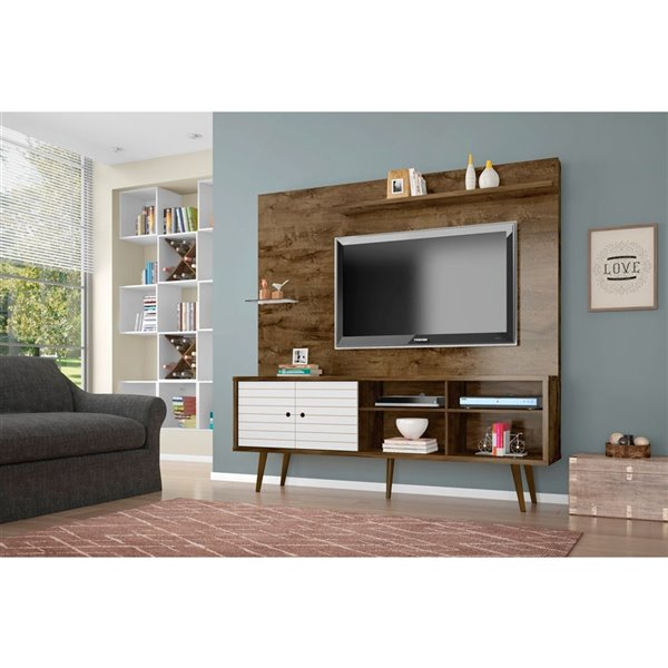 Manhattan Comfort Liberty Entertainment Centre with Overhead Shelf - 70.87-in x 72.05-in - Rustic Brown/White