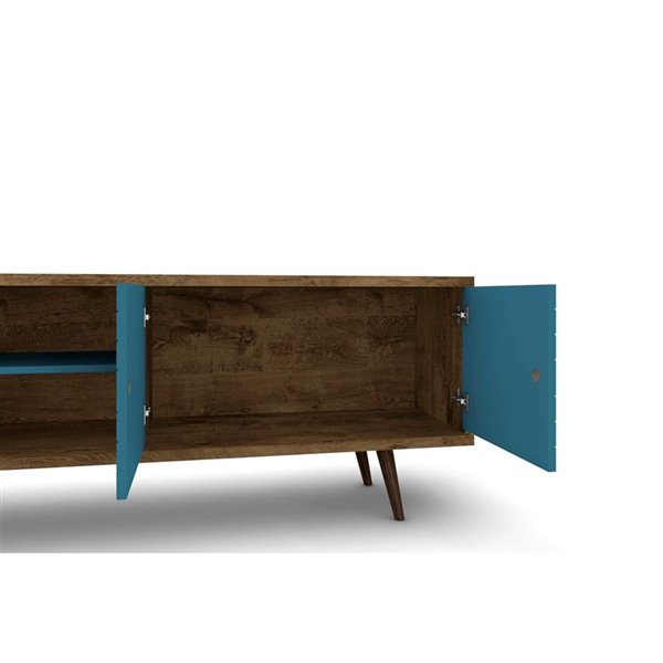Manhattan Comfort Liberty TV Stand with 3 Shelves and 2 Doors - 62.99-in x 25.59-in - Rustic Brown/Aqua Blue