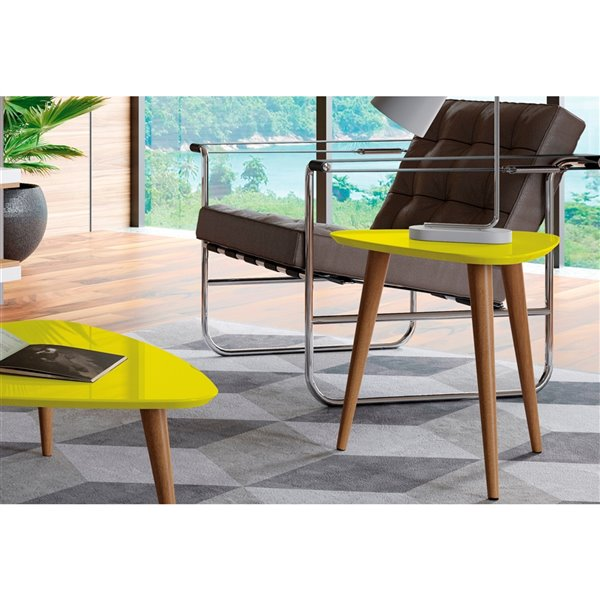 Manhattan Comfort Utopia High Triangular End Table - 20.07-in x 19.68-in - Yellow/Wood