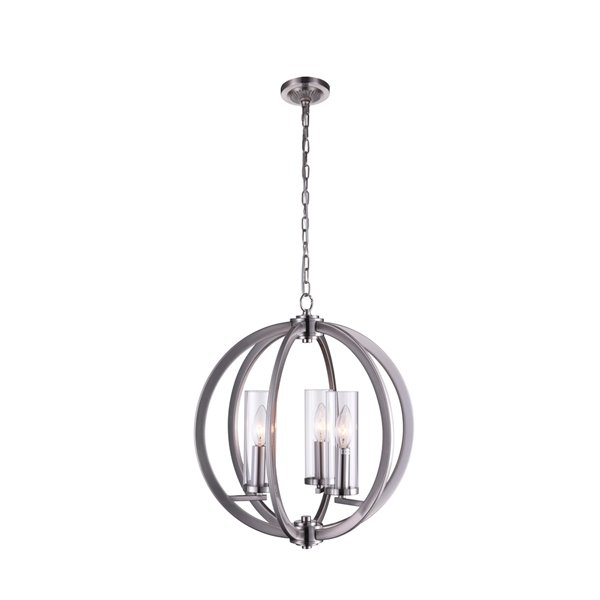 CWI Lighting Elton Chandelier - 3-Light - 16-in - Satin Nickel