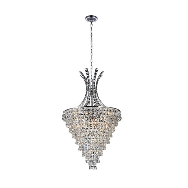CWI Lighting Chique Chandelier - 13-Light - 24-in - Chrome