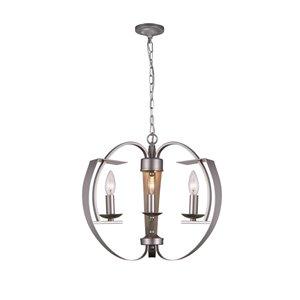 CWI Lighting Verbena Chandelier - 3-Light - 16-in - Pewter