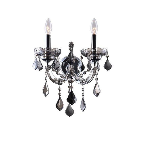 CWI Lighting Maria Theresa Wall Sconce - 2-Light - 10-in - Smoked Chrome
