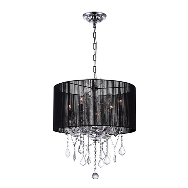 CWI Lighting Maria Theresa Chandelier - 4-Light - 20-in - Chrome