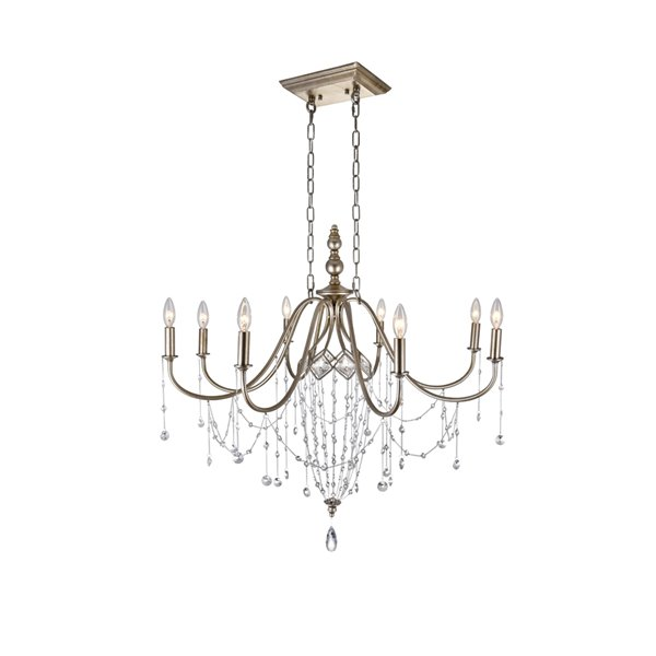 CWI Lighting Pembina Chandelier - 8-Light - 36-in - Speckled Nickel