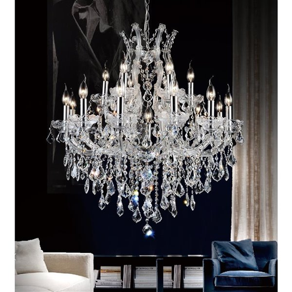 CWI Lighting Maria Theresa Chandelier - 19-Light - 32-in - Chrome
