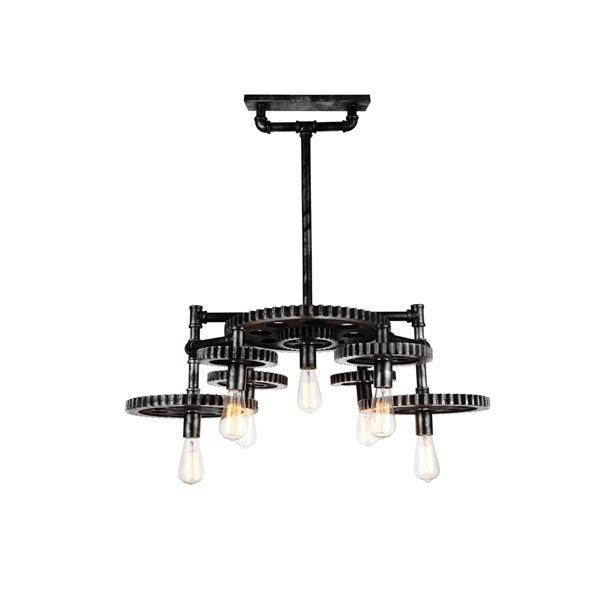 CWI Lighting Oder Chandelier - 7-Light - 35-in - Silver Grey