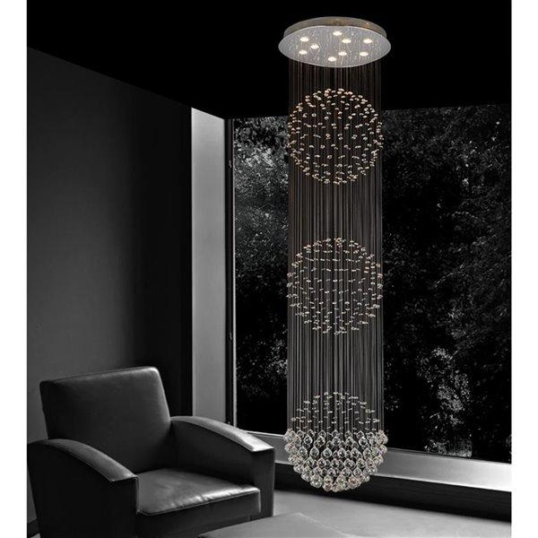 CWI Lighting Triple Sphere Flush Mount Light - 9-Light - 24-in - Chrome