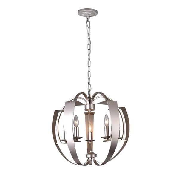 CWI Lighting Verbena Chandelier - 5-Light - 21-in - Pewter