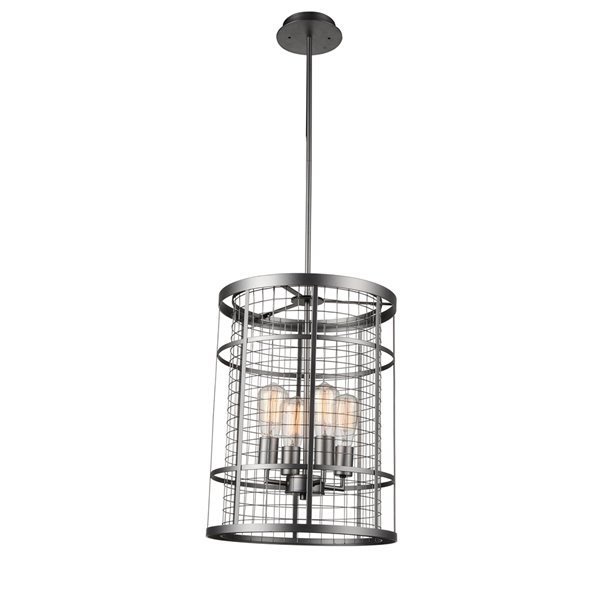 CWI Lighting Manito Chandelier - 4-Light - 15-in - Pewter