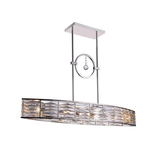 CWI Lighting Squill Island Chandelier - 6-Light - 12-in - Polished Nickel