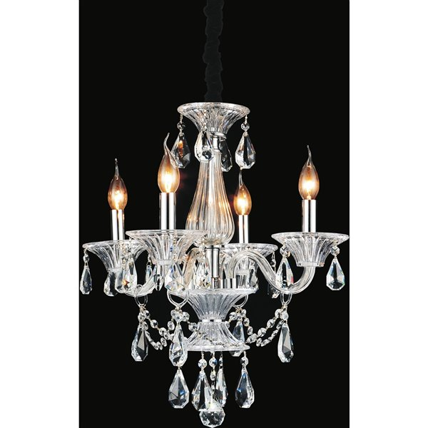 CWI Lighting Lexis Chandelier - 4-Light - 20-in - Chrome