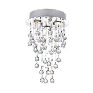 CWI Lighting Rain Drop Flush Mount Light - 3-Light - 12-in - Chrome